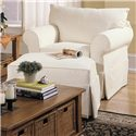 Klaussner Jenny Slipcover Chair with Rolled Arms and Skirt - DB16100C - Shown with ottoman