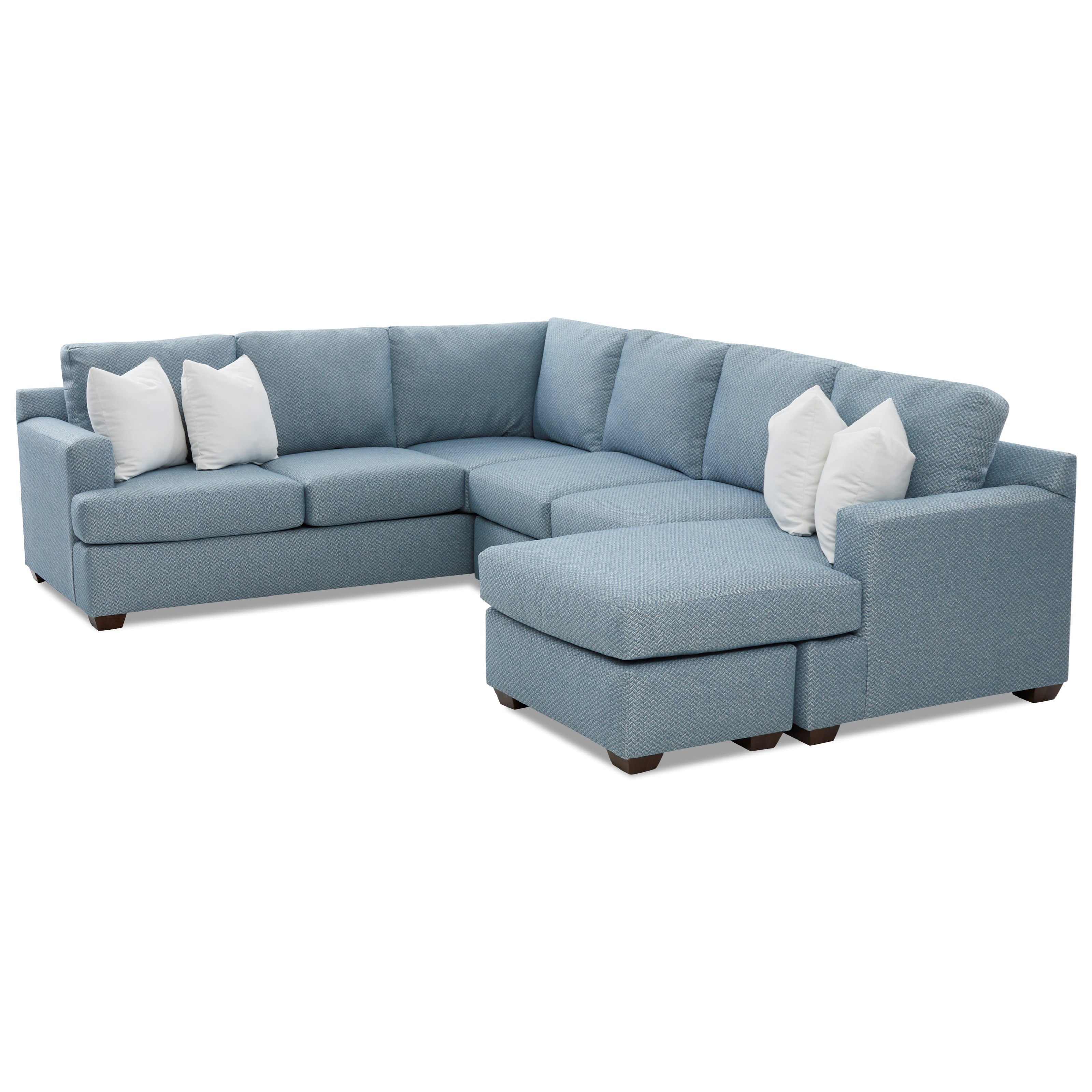 Juniper 5-Seat Sectional Sofa with RAF Chaise Ottoman by Klaussner at  Novello Home Furnishings