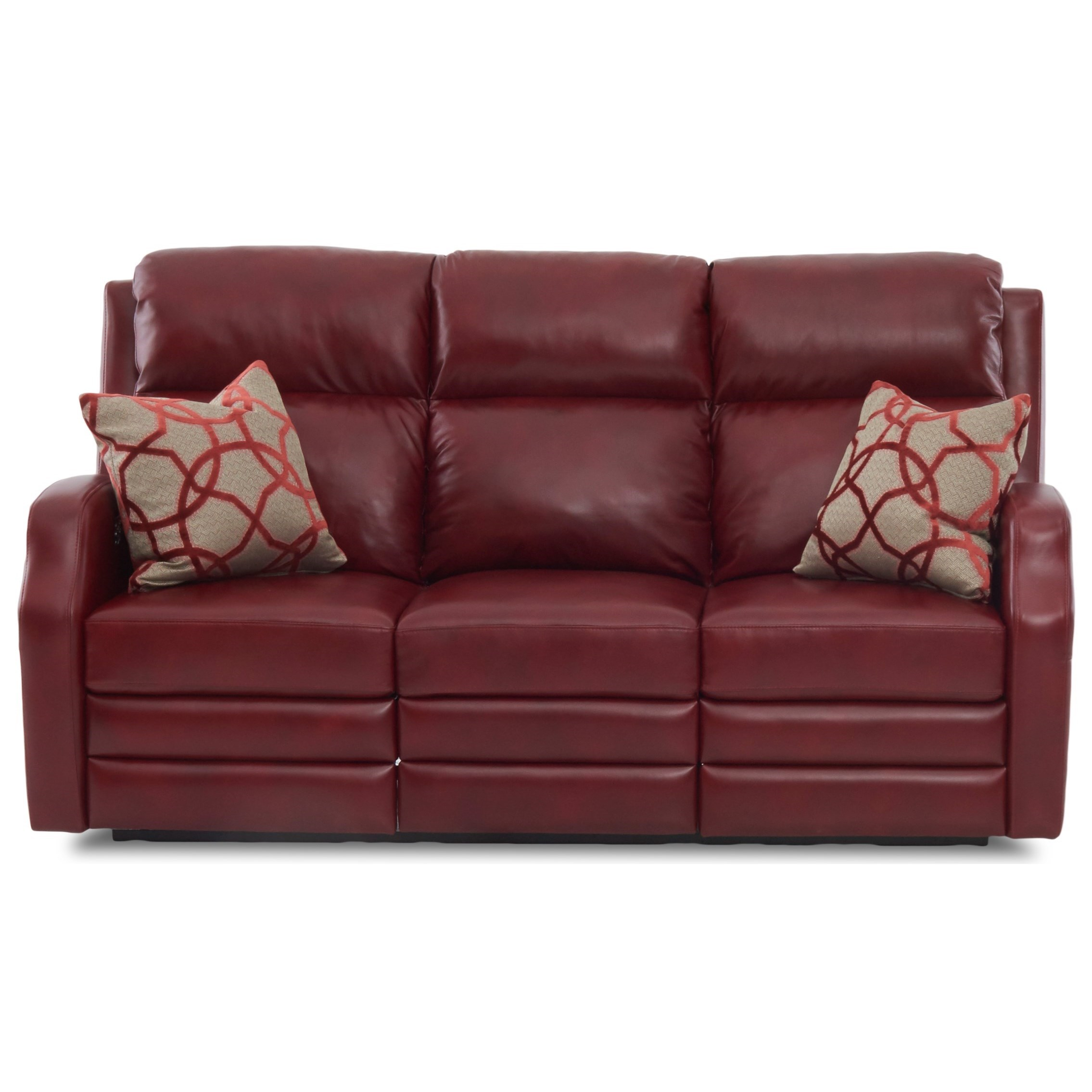 Klaussner Kamiah 77 Inch Reclining Sofa With Pillows