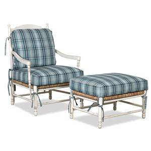 Klaussner Chairs and Accents Homespun Accent Chair and Ottoman Set