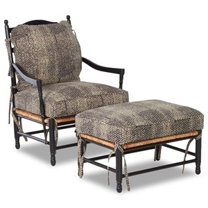 Elliston Place Chairs and Accents Homespun Accent Chair and Ottoman Set