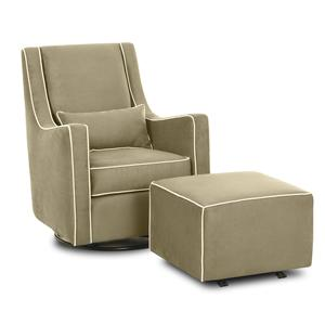Klaussner Chairs and Accents Lacey Swivel Gliding Chair and Ottoman