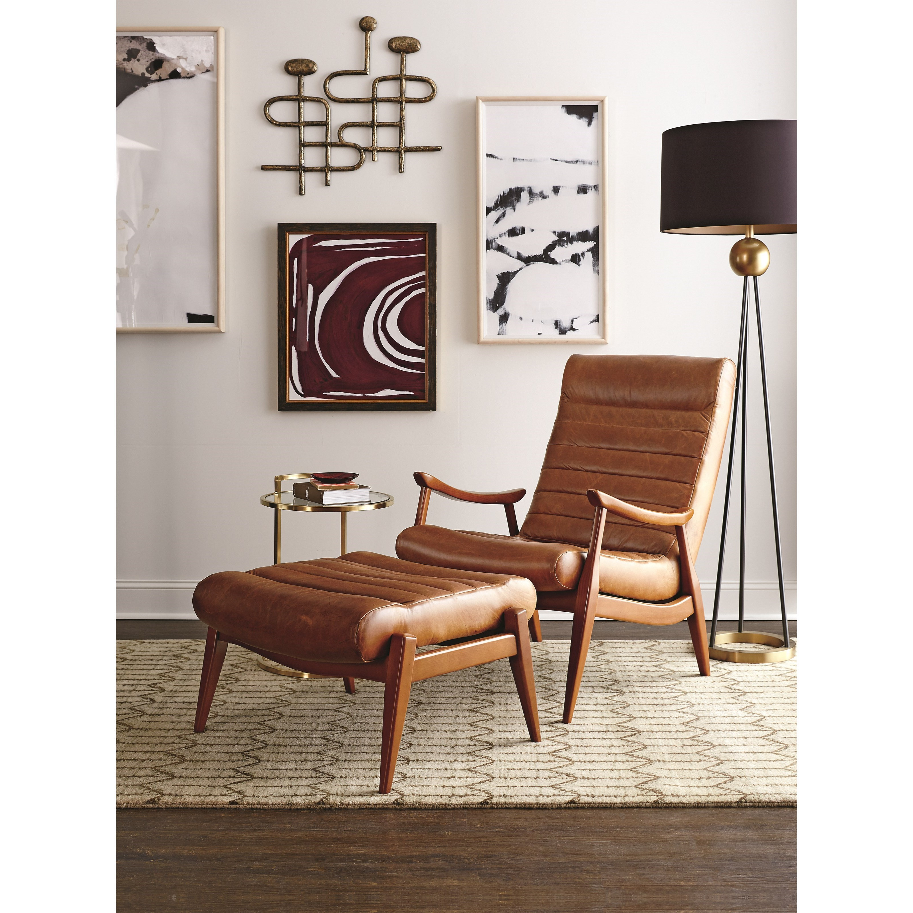 Chairs and accents hans mid century modern chair and ottoman with exposed wood frame by klaussner