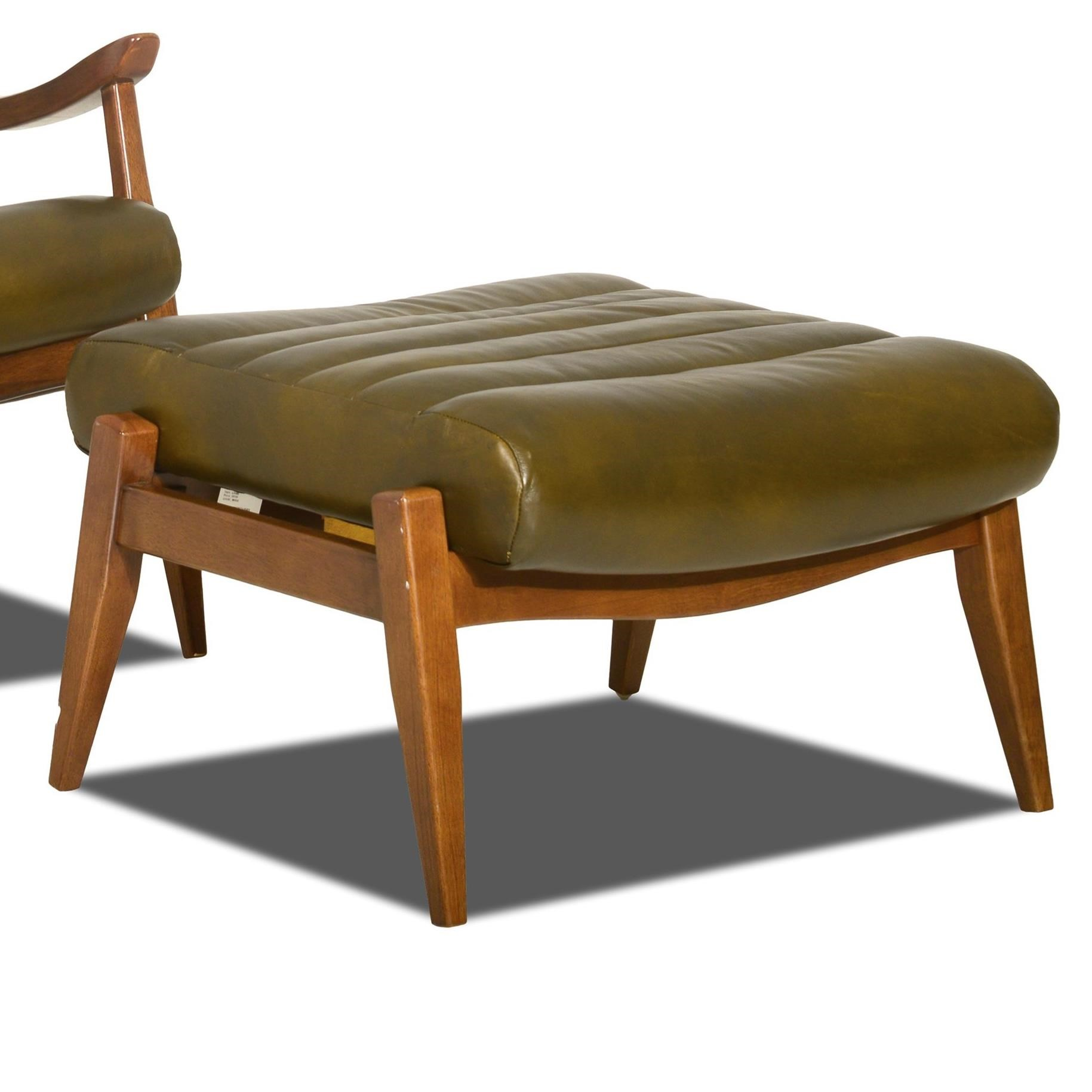 Klaussner Chairs And Accents Hans Mid Century Modern Ottoman With Scandinavian Style Exposed Wood Value City Furniture Exposed Wood Chairs