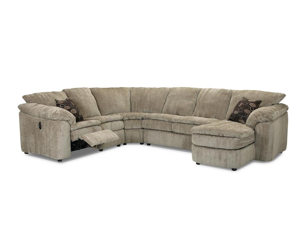 Klaussner Legacy Left Arm Reclining Love Seat And Right Arm Chaise Sectional Dunk Bright