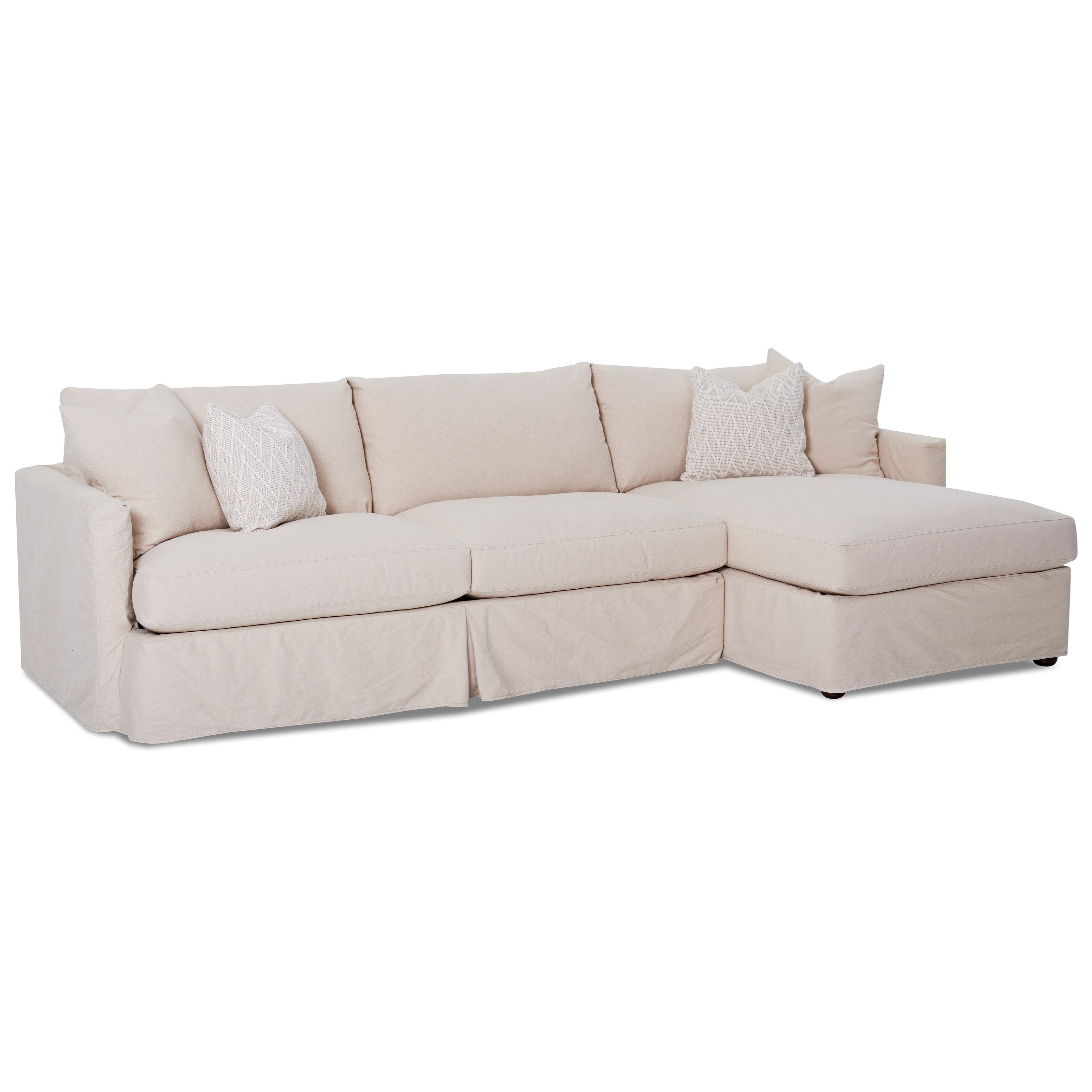 Klaussner Leisure 2 Pc Sectional Sofa with Slipcover - Item Number: D4133L S+D4133 R CHASE