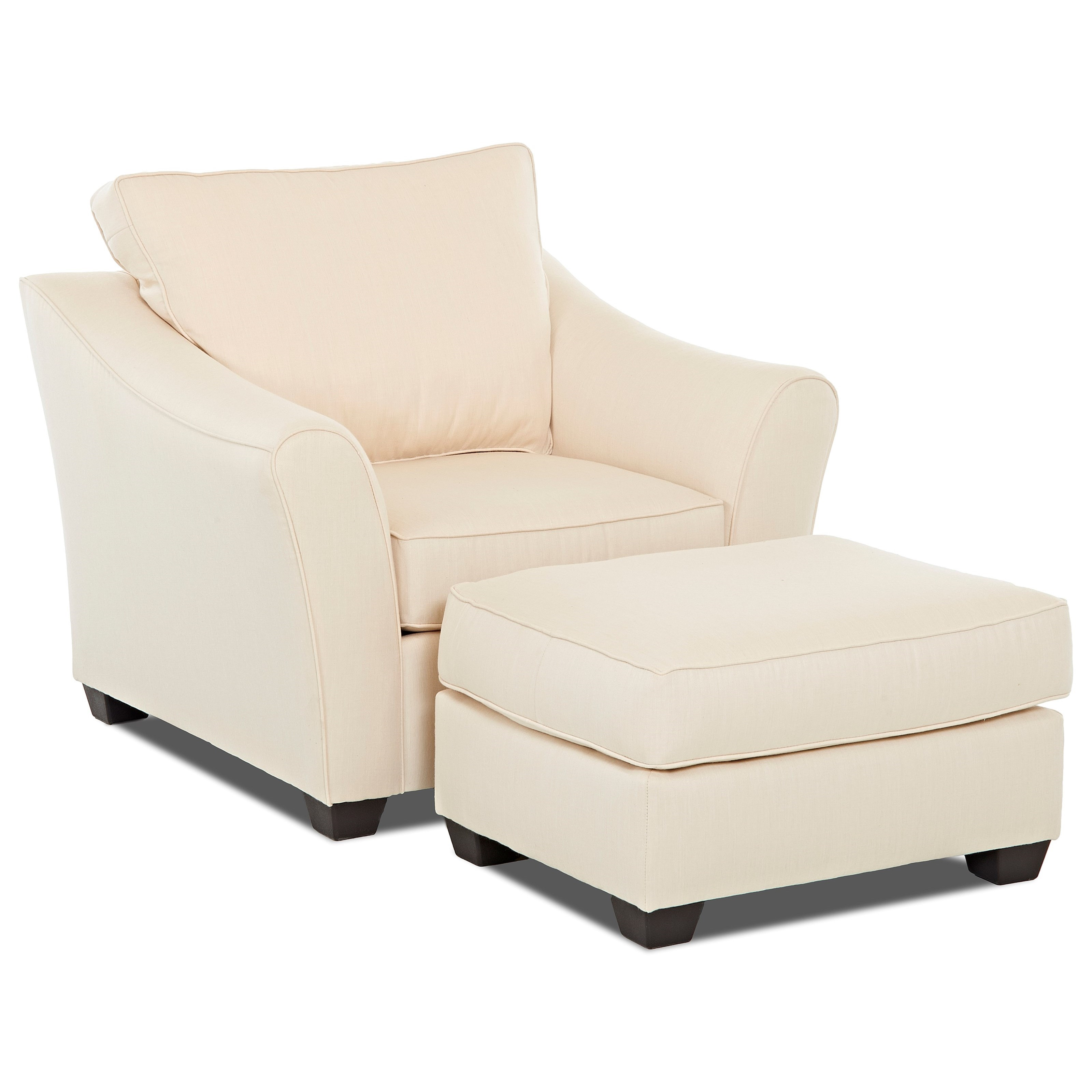 Klaussner Linville Chair & Ottoman Set - Item Number: K80400 C+OTTO-FLAGSHIP VELLUM