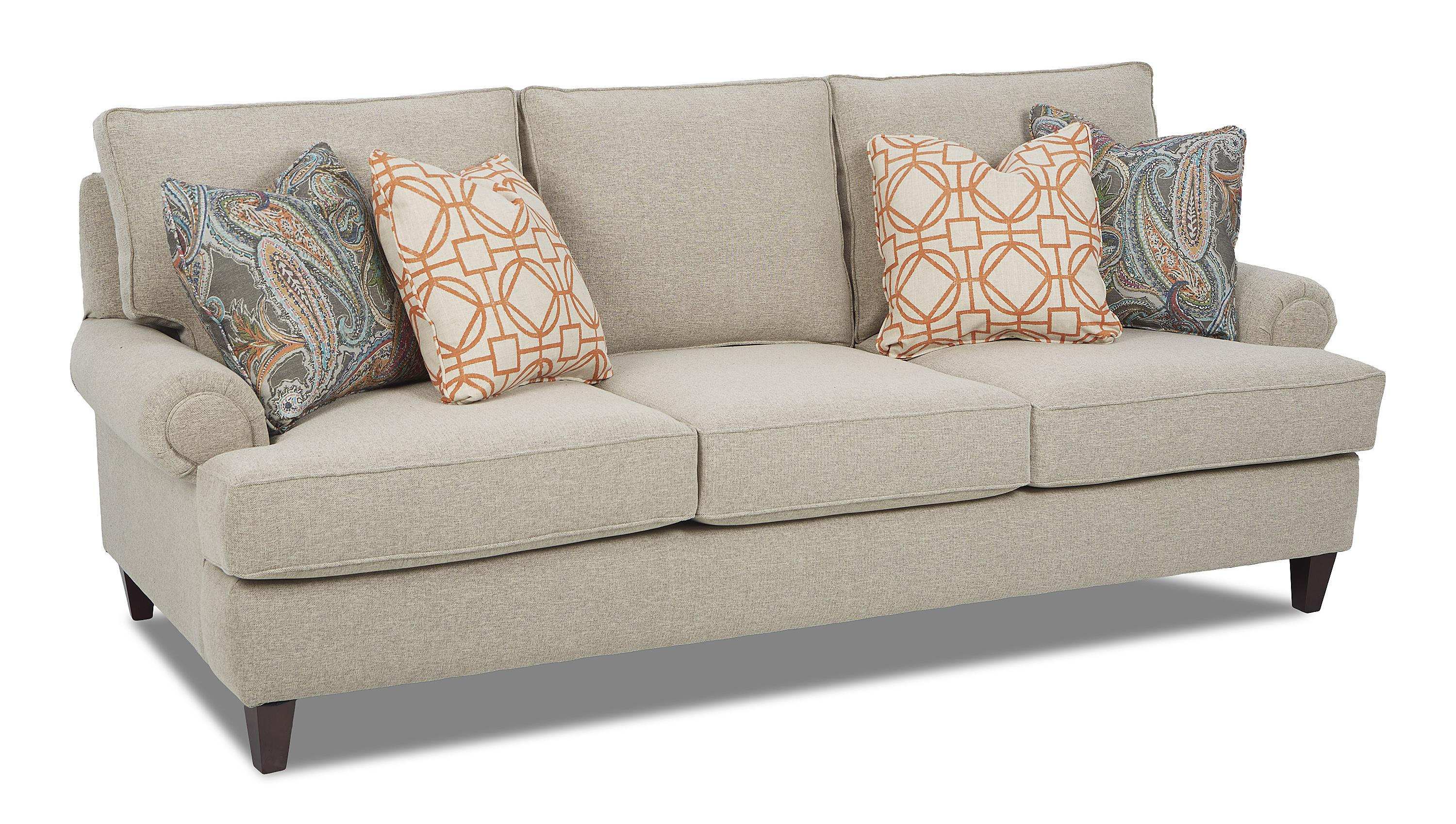 Klaussner Madison Traditional Stationary Sofa with Rolled Arms