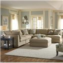 Klaussner Melrose Place Four Piece Sectional with Two Corner Chairs - Shown in an Alternative Fabric Finish with Ottoman