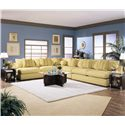 Klaussner Melrose Place Armless Love Seat - Shown in Living Room with a Corner as a Sectional
