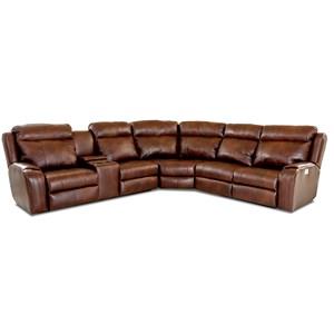Klaussner Merlin 4 Seat Pwr Recl Sect Sofa W Head Lumb