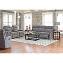 Klaussner Monticello Power Reclining Loveseat with Cupholder Console and Storage Compartment