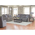 Elliston Place Monticello Reclining Loveseat with Track Arms and Pillows
