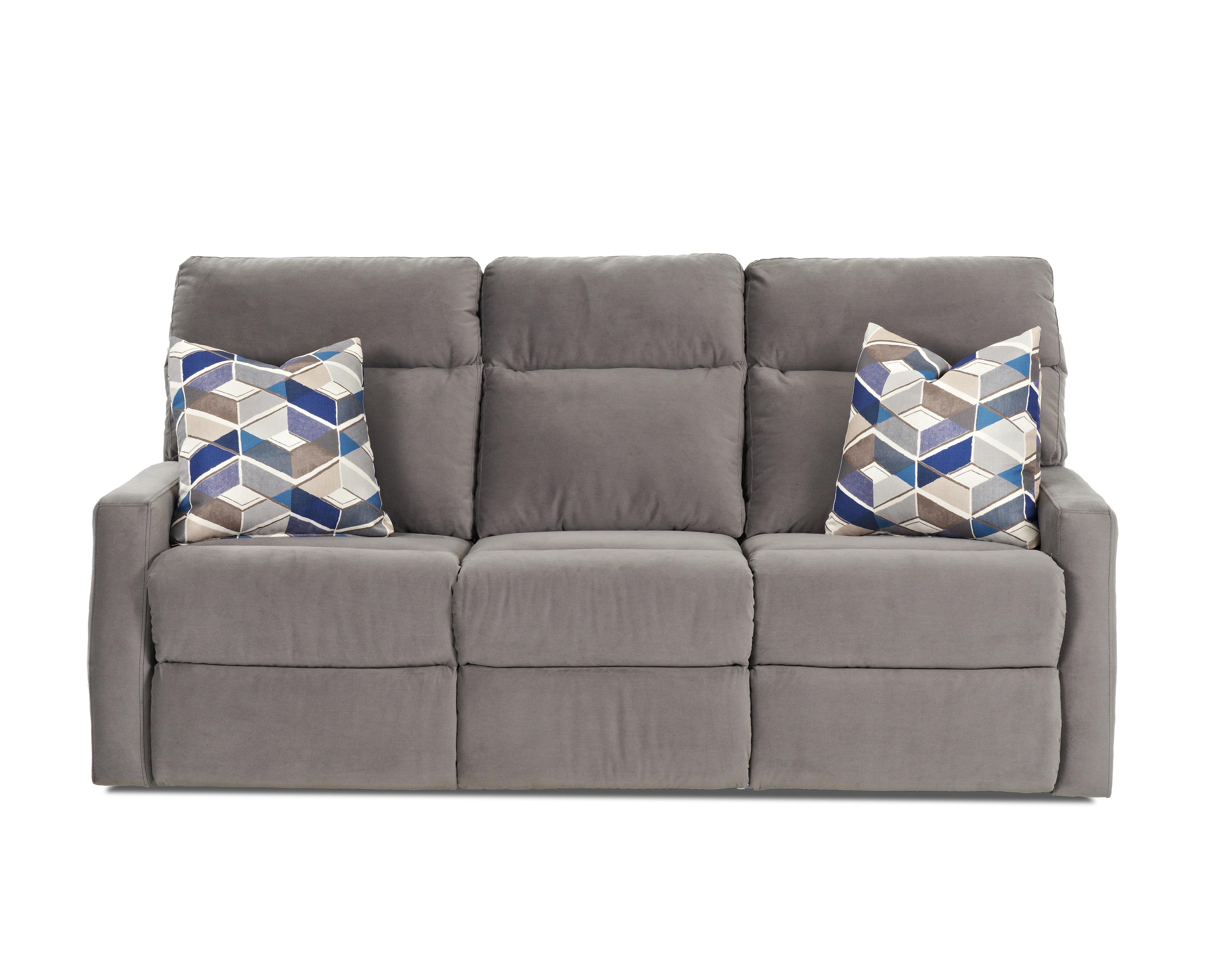 Klaussner Monticello Reclining Sofa w/ Pillows - Item Number: 41503P RS-OAKL-GRAP