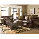 Elliston Place Montezuma Leather Chair with Rolled Arms - Shown with Sofa