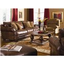 Klaussner Montezuma Leather Ottoman with Bun Feet - Shown with Sofa and Chair