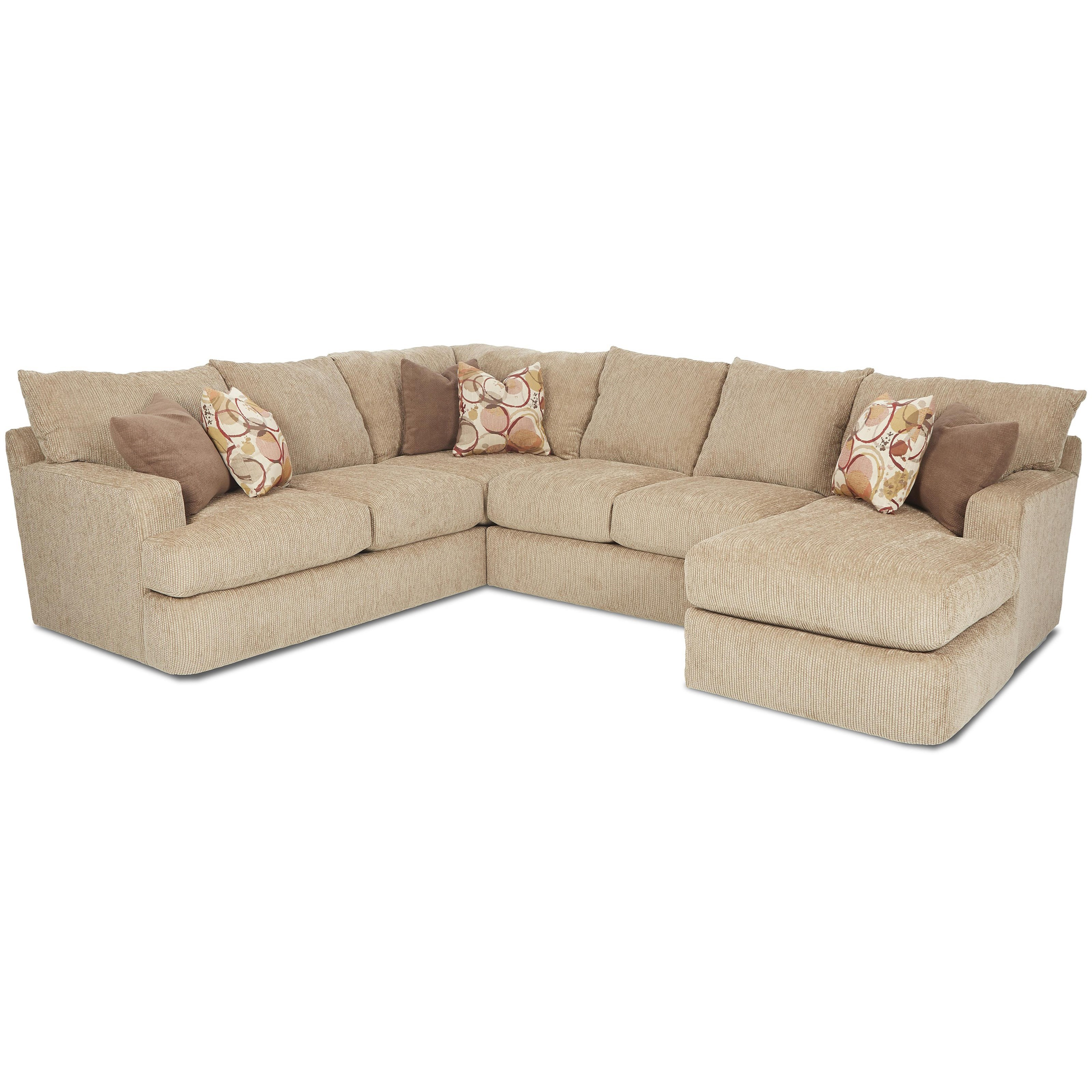 Klaussner Oliver Sectional Sofa - Item Number: K41400LCRNS+K41400ALS+K41400RCHASE