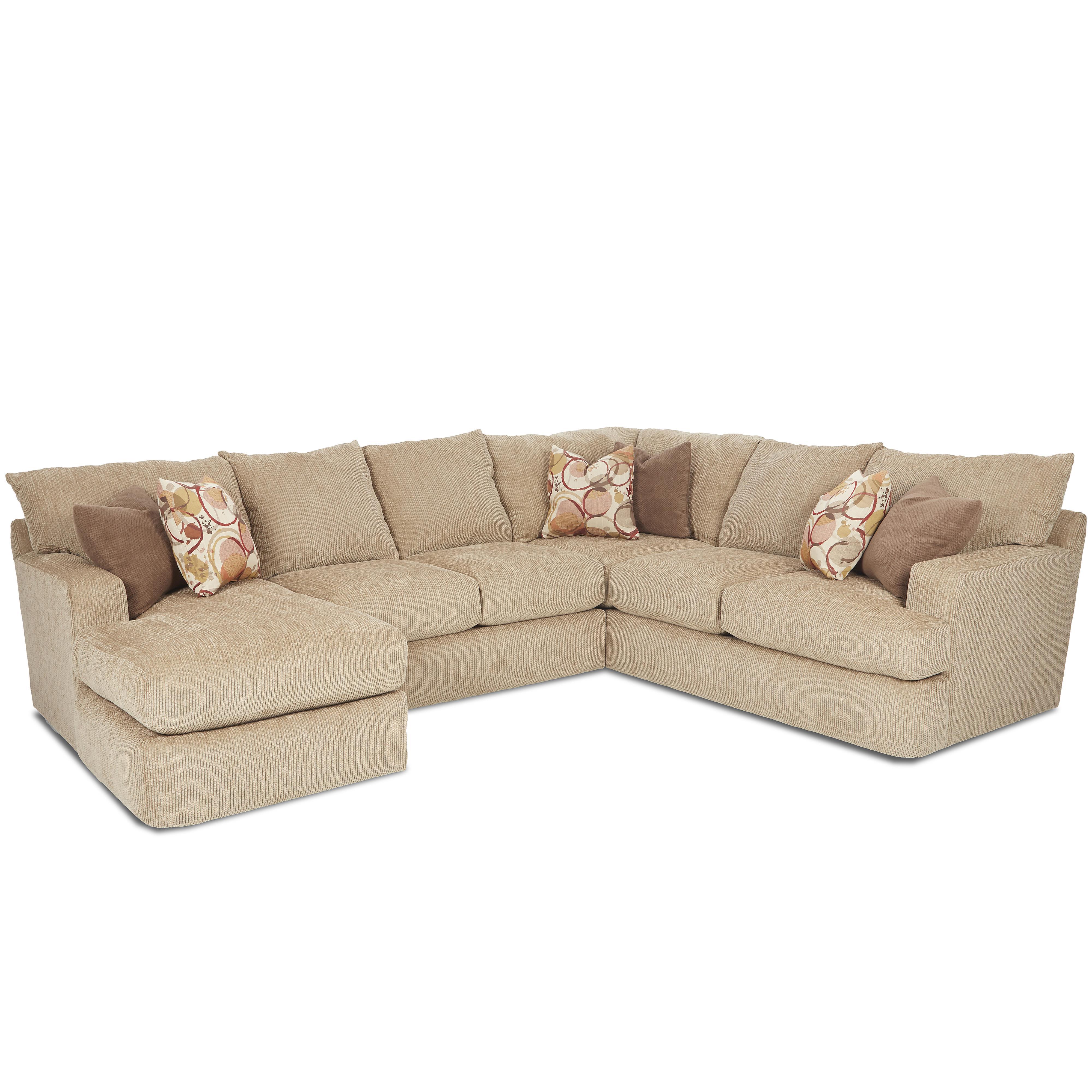 Klaussner Oliver Sectional Sofa - Item Number: K41400RCRNS+K41400ALS+K41400LCHASE