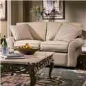 Elliston Place Patterns Loveseat with Rolled Arms and Exposed Wood Feet