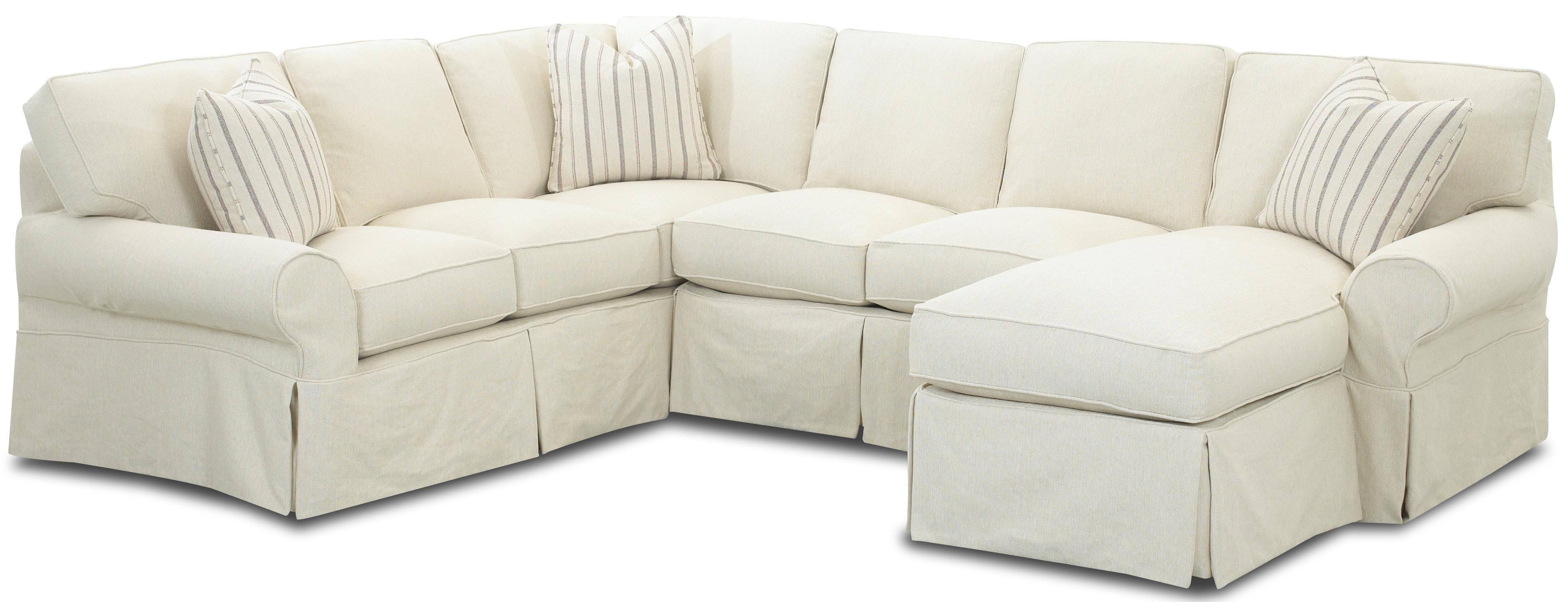 Klaussner Patterns Slipcovered Sectional Sofa with Right Chaise