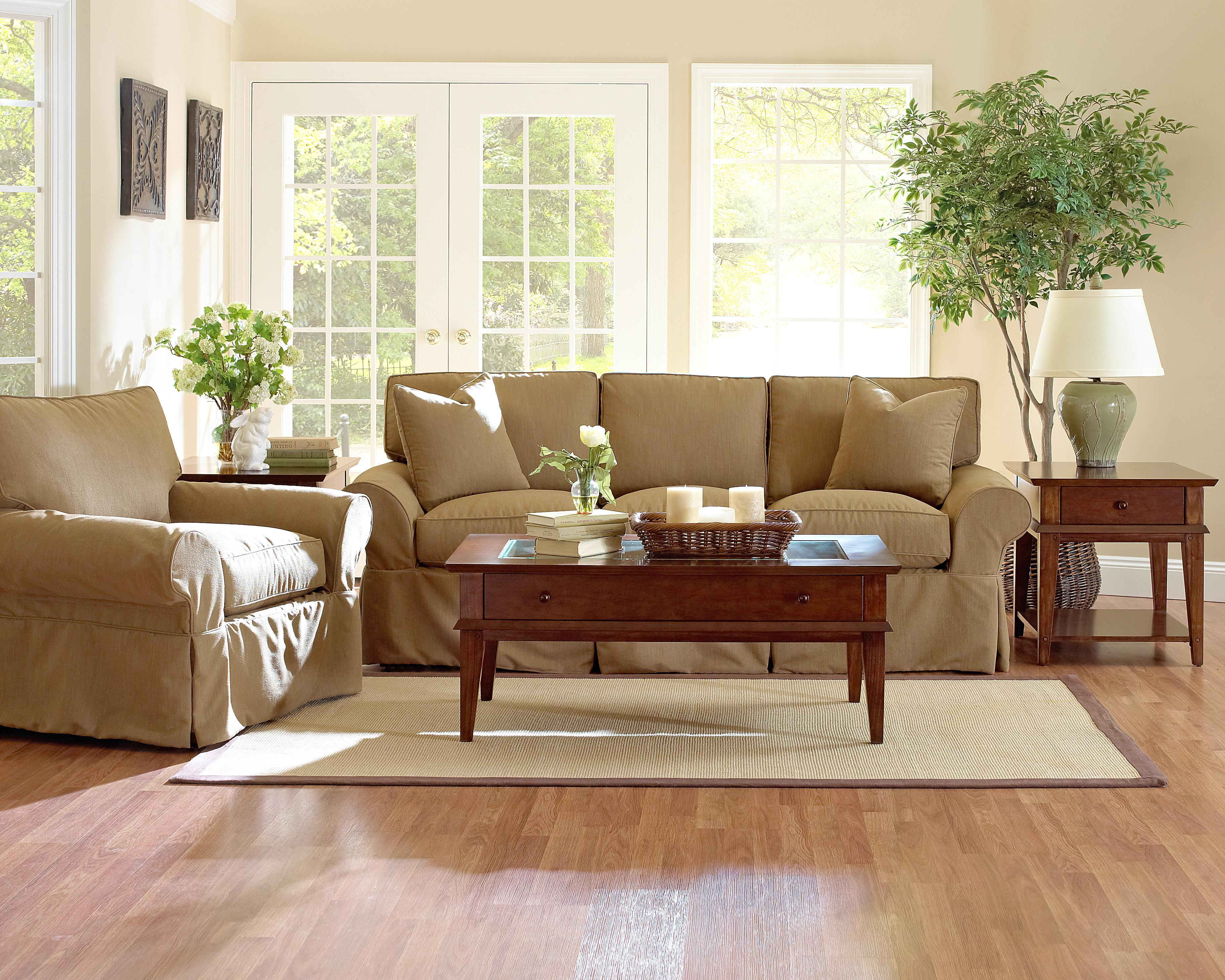 Klaussner Patterns Slipcovered Sofa With Rolled Arms And