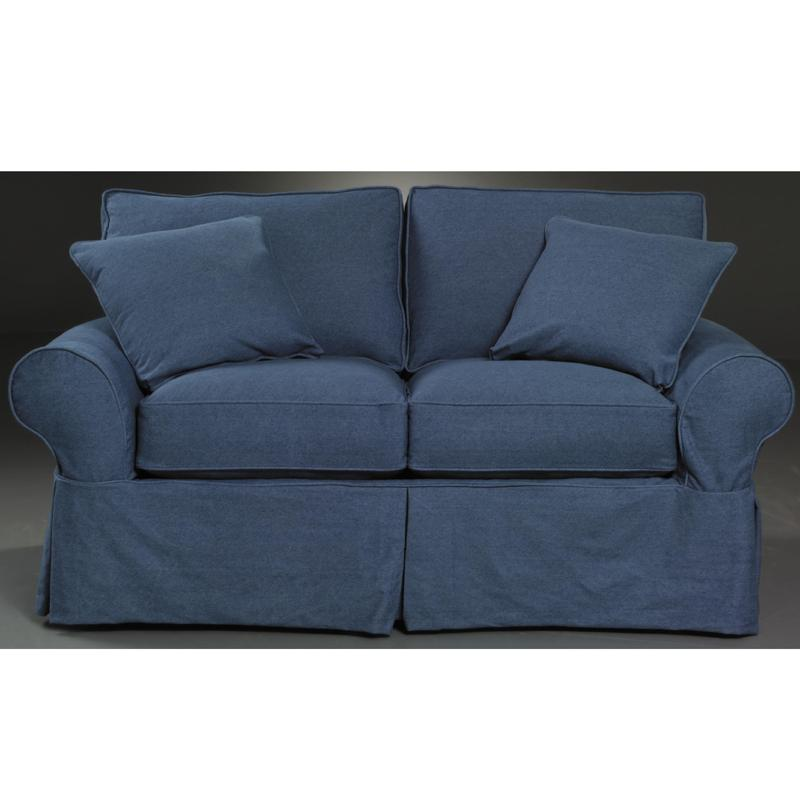 Klaussner Patterns Slipcovered Loveseat with Rolled Arms ...
