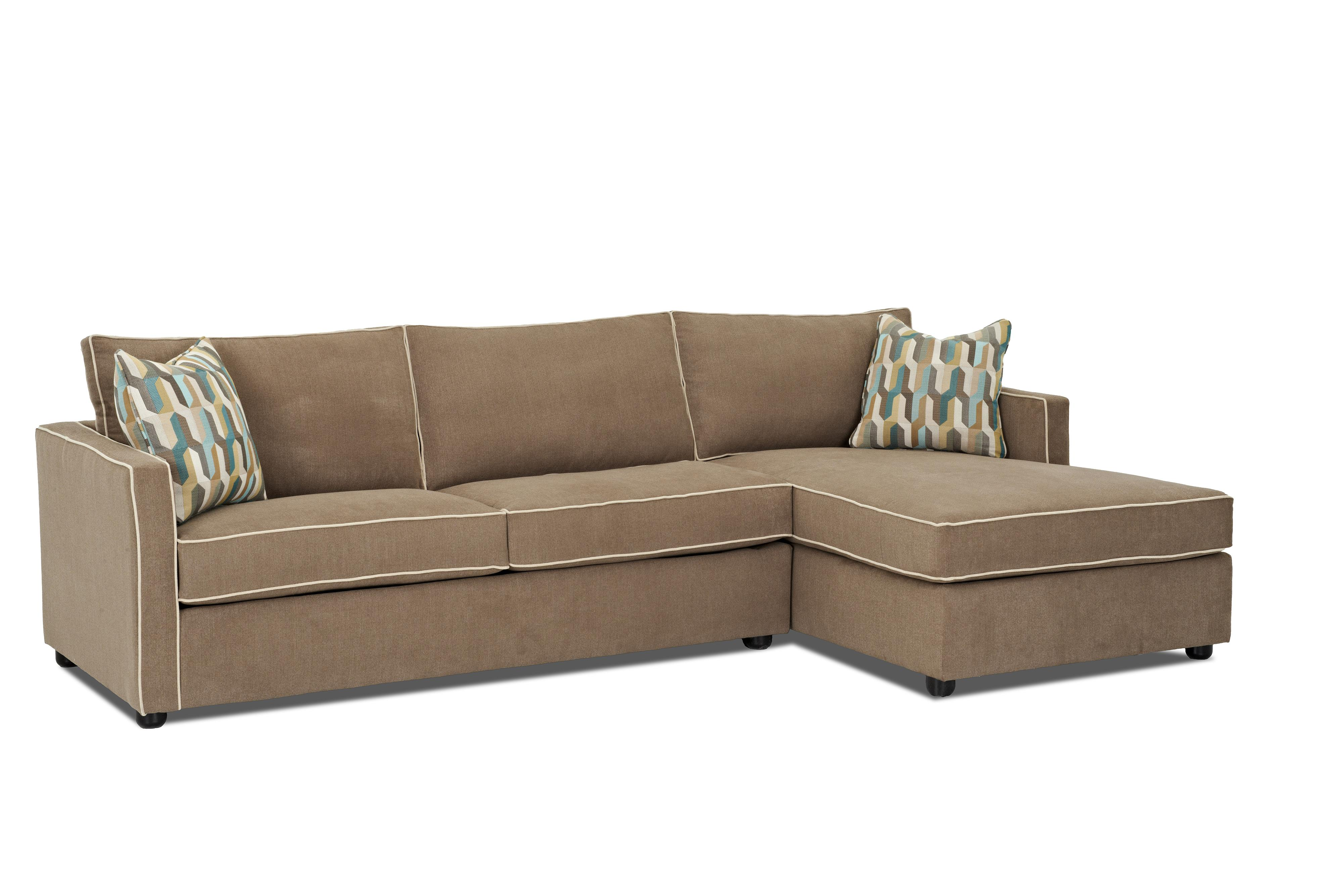 Klaussner Pendry Sectional Sofa with Chaise - Item Number: K89500L S+R CHASE-BrookesideTaupe