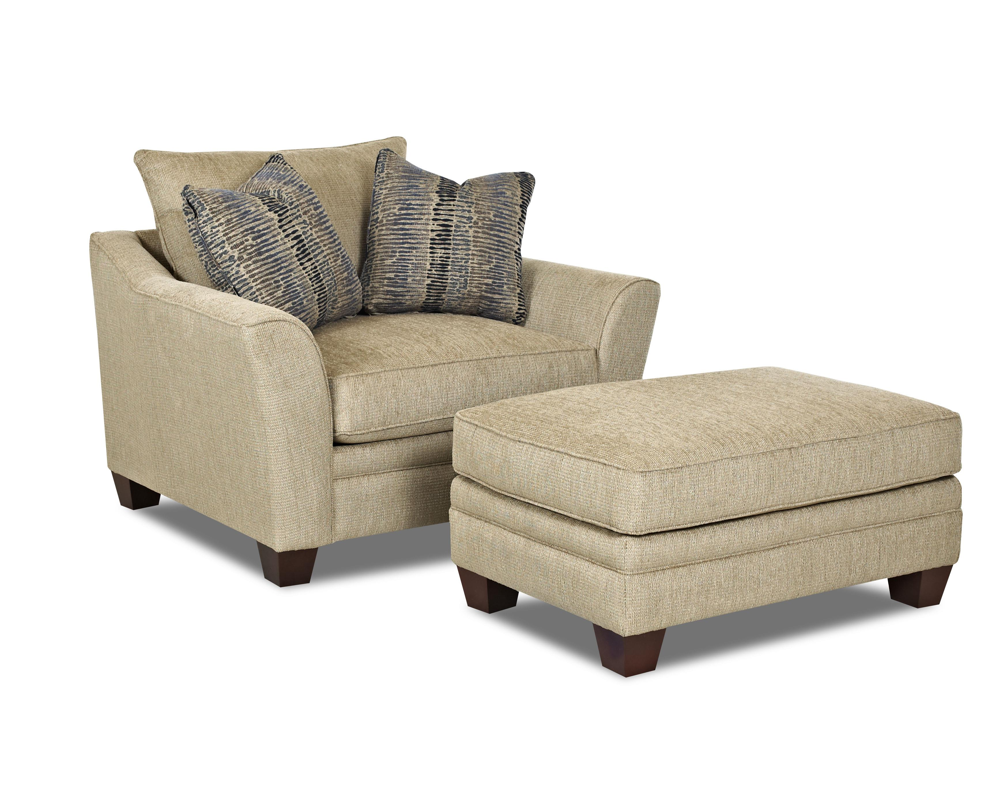 Klaussner Posen Chair and Ottoman Set - Item Number: 83844 C+OTTO-WootenSandstone
