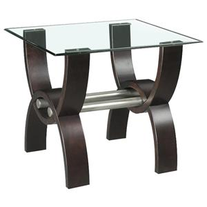 Quantam Contemporary Glass Top End Table by Klaussner International