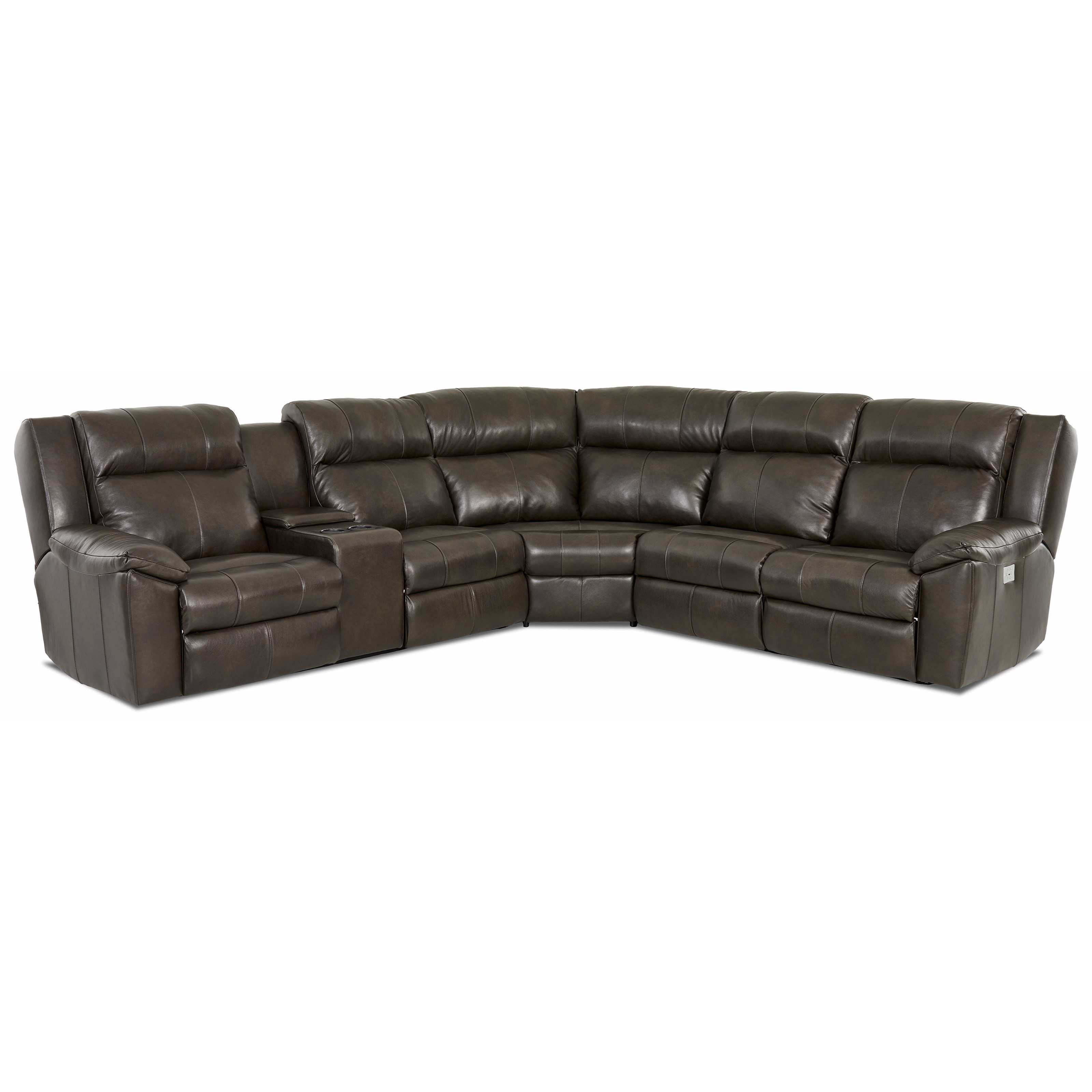 Klaussner Ridley 3 Piece Reclining Sectional With Power Headrest And Laf Console Loveseat Dunk