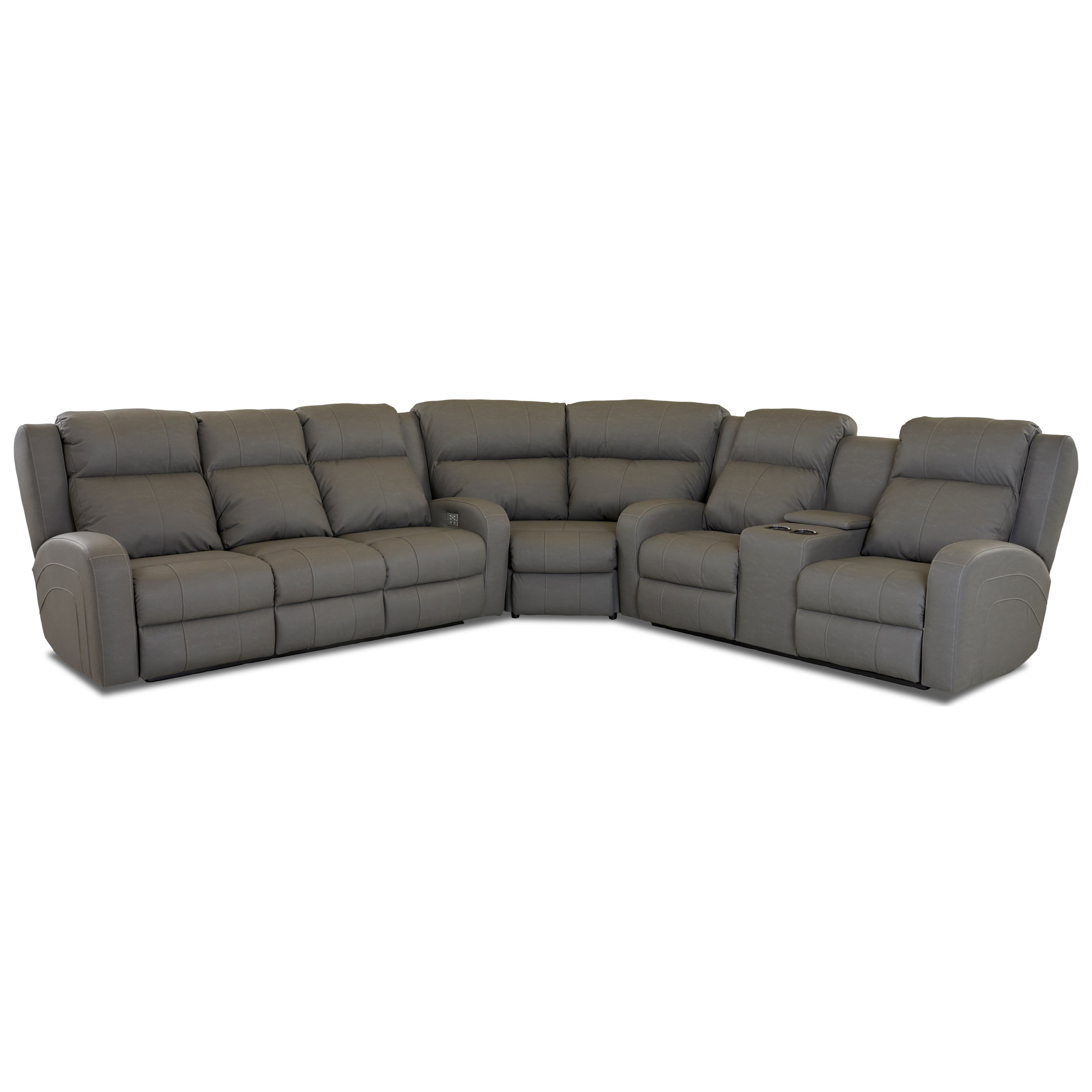 Klaussner Robinson Casual Three Piece Reclining Sectional Sofa ...