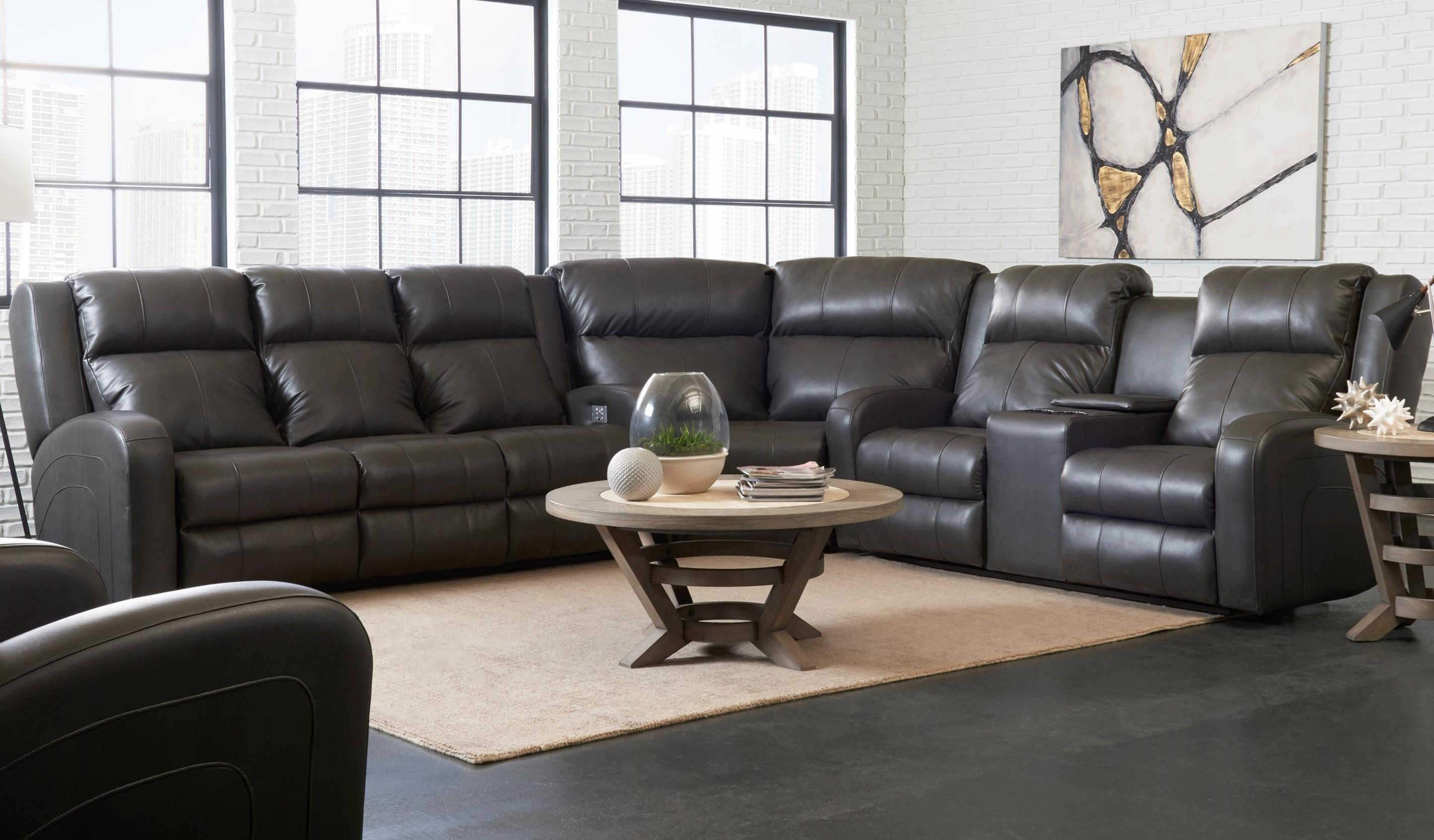 Klaussner Robinson Casual Three Piece Reclining Sectional Sofa with ...