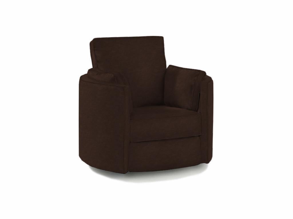 Klaussner Ryder Transitional Reclining Swivel Chair  Item Number:  50508rswvl Jupiter Choc