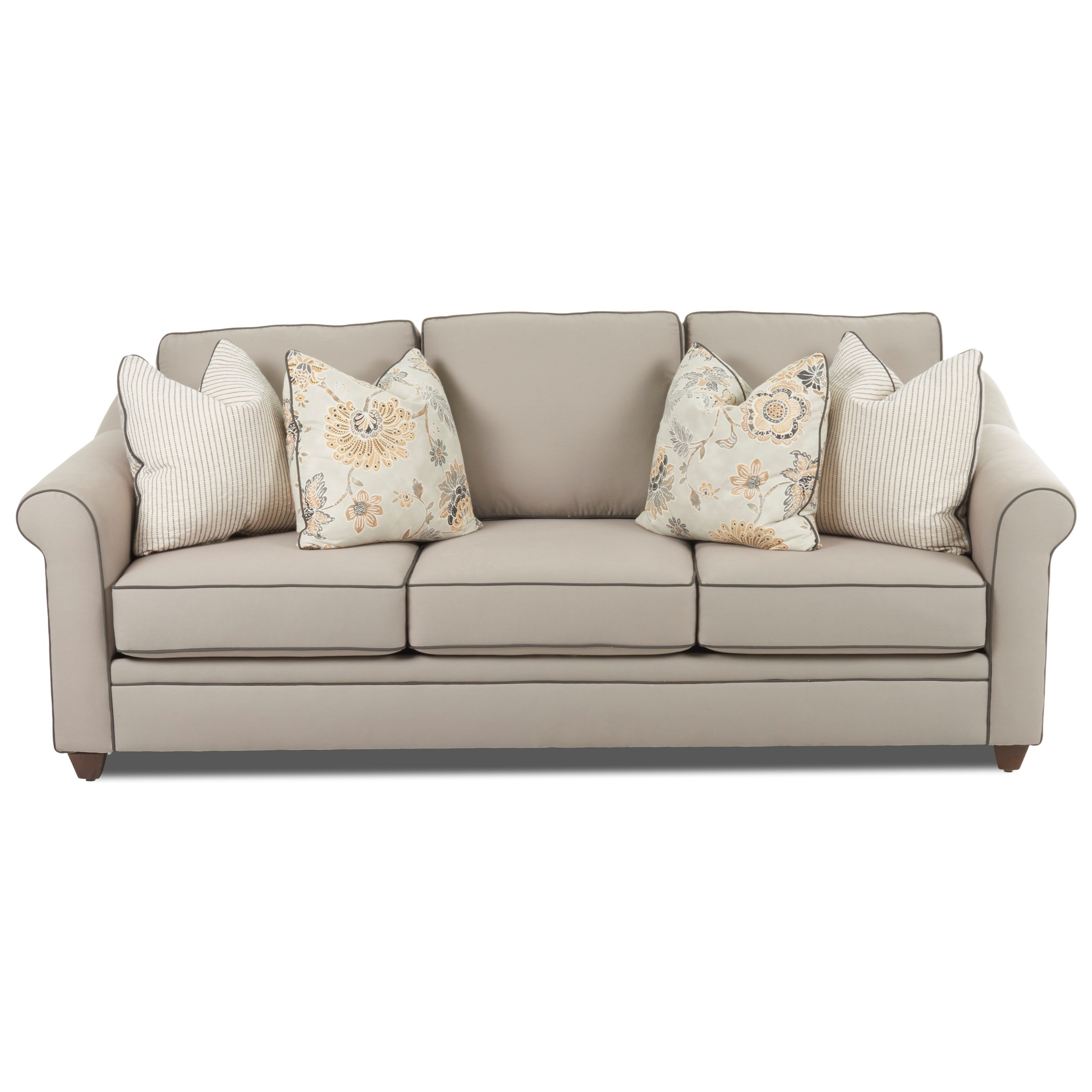 Klaussner Sandy Ridge Transitional Sofa With Rolled Arms Johnny Janosik Sofas