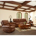 Elliston Place Savannah Power Reclining Sofa with Rolled Arms and Nailheads