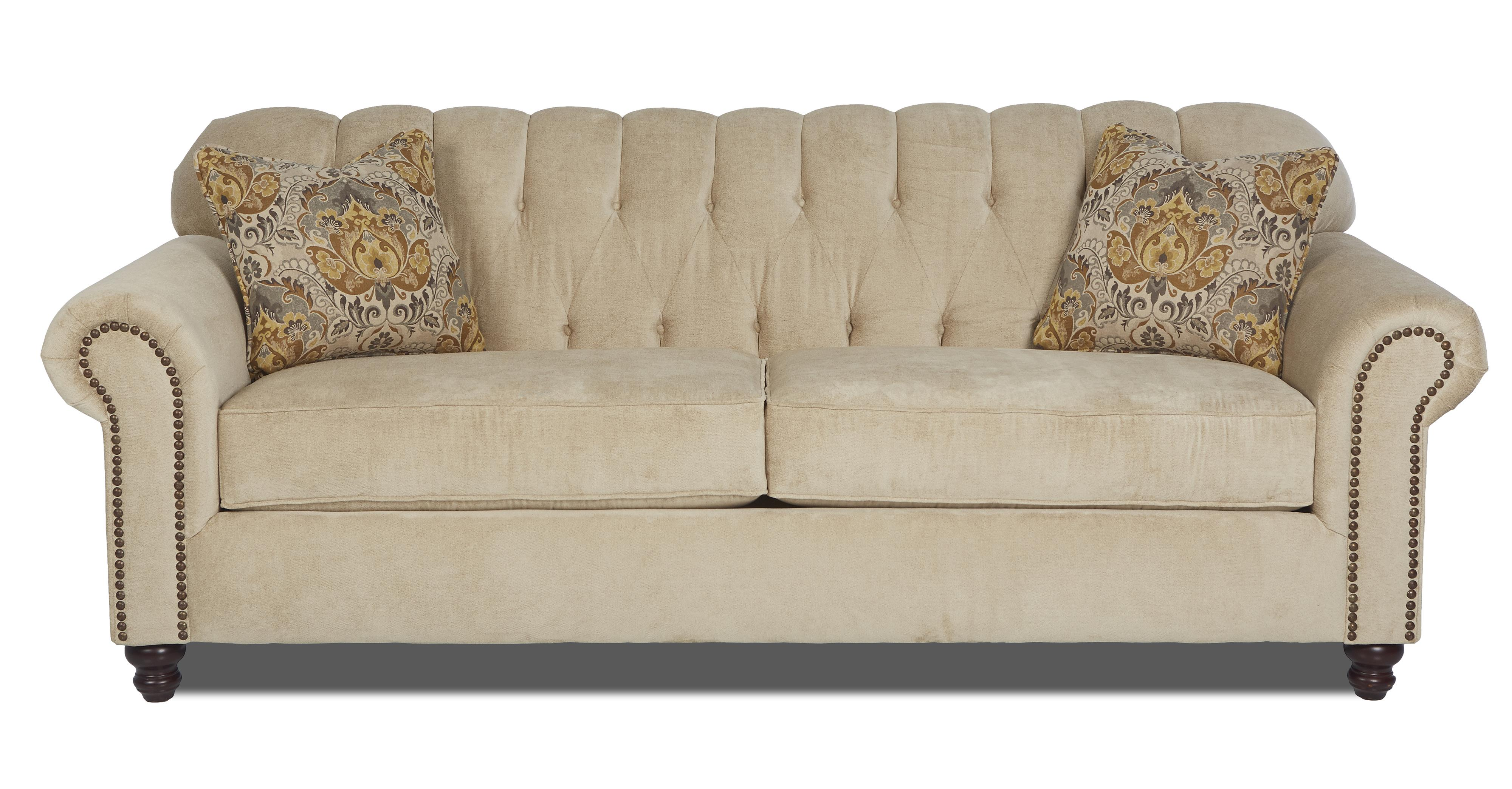 Klaussner Sinclair Traditional Stationary Sofa With Rolled Arms And Nailhead Trim Value City