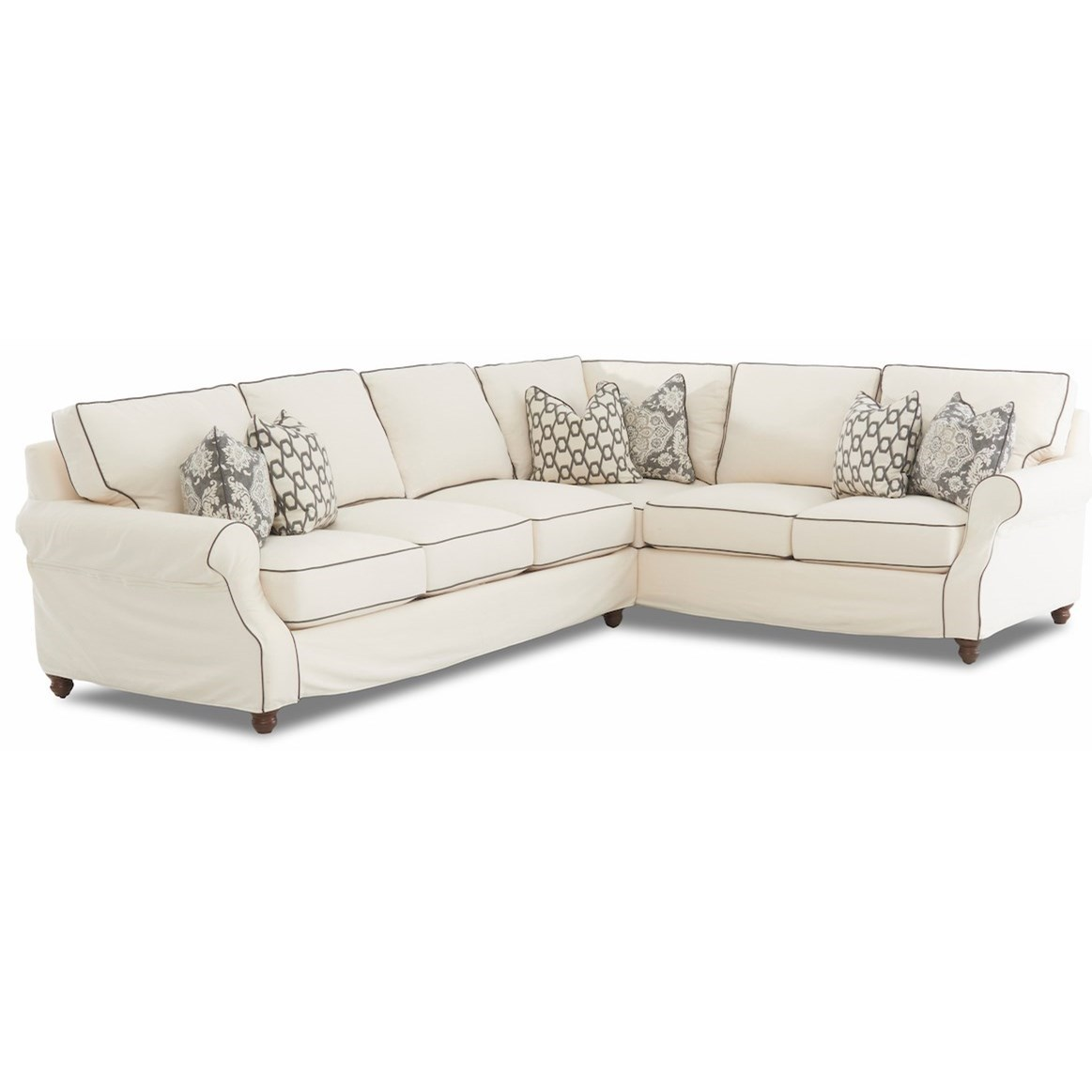 Klaussner Tifton Traditional 2 Piece Slipcover Sectional