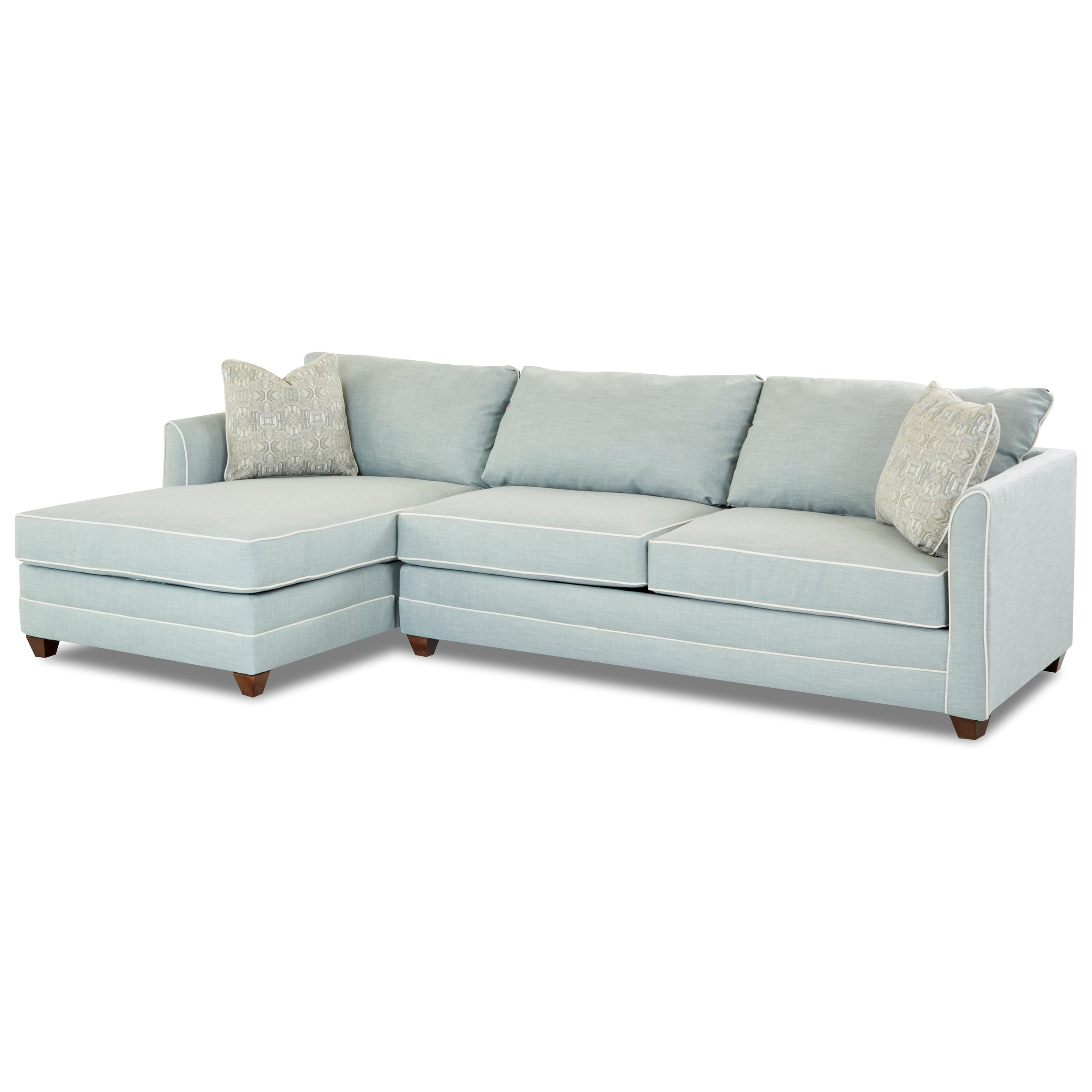 Tilly Two Piece Sectional Sofa with RAF Sleeper Sofa and Enso Memory Foam  Mattress by Klaussner at Wayside Furniture