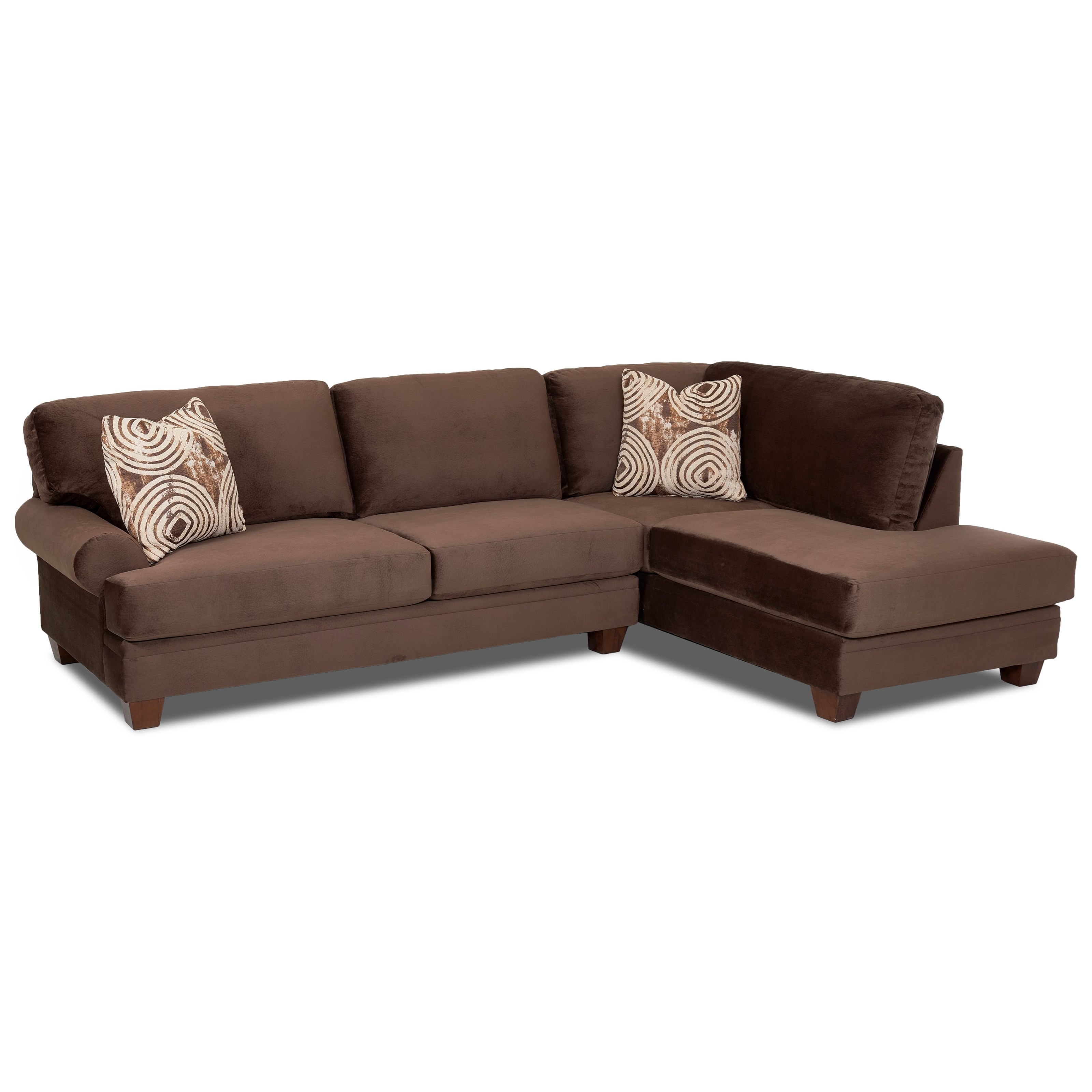 Klaussner tinley two piece sectional sofa with raf sofa for Couch with 2 chaises