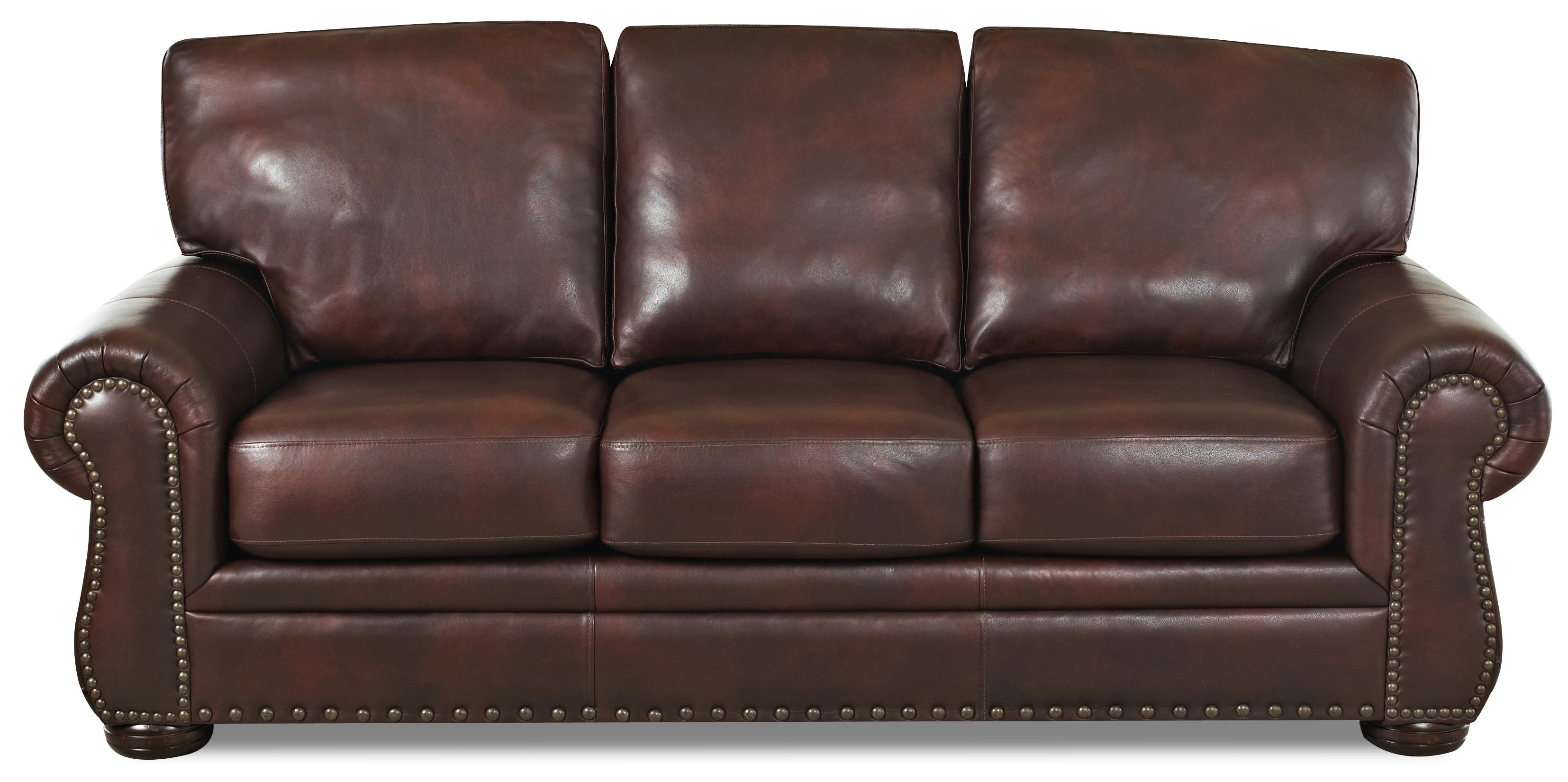 Klaussner Tomoka Transitional Leather Stationary Sofa With Nail Head Trim Ahfa Dealer Locator