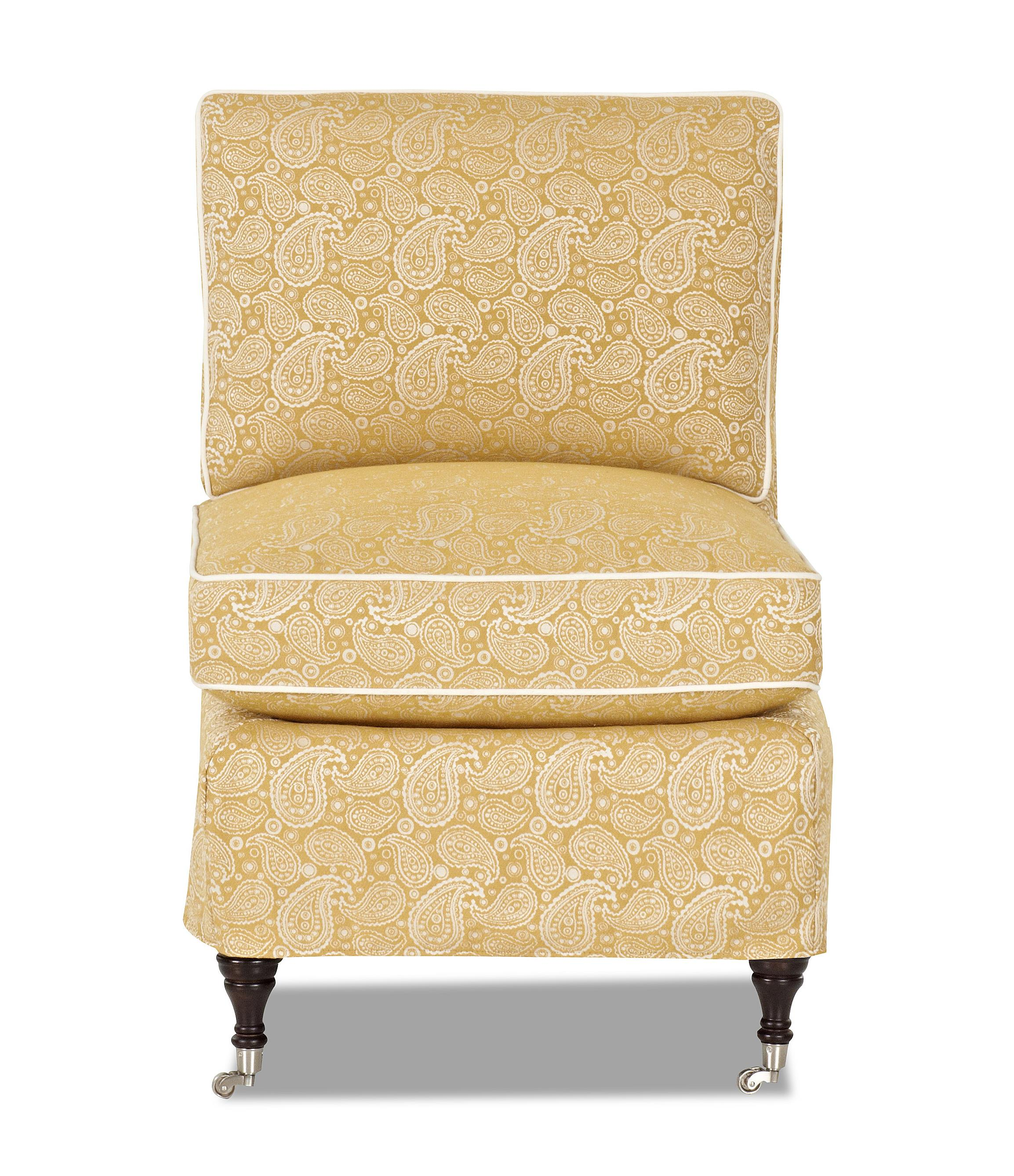 Klaussner trixie armless chair item number d610 ac susannahmustard