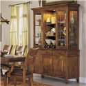 Morris Home Furnishings Tuscon China Cabinet with 2 Glass Doors, Open Center Shelves, and Built-in Lights