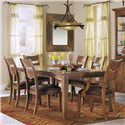 Morris Home Furnishings Tuscon Ladderback Dining Room Arm Chair with Upholstered Seat - Shown as part of 7-piece dining set