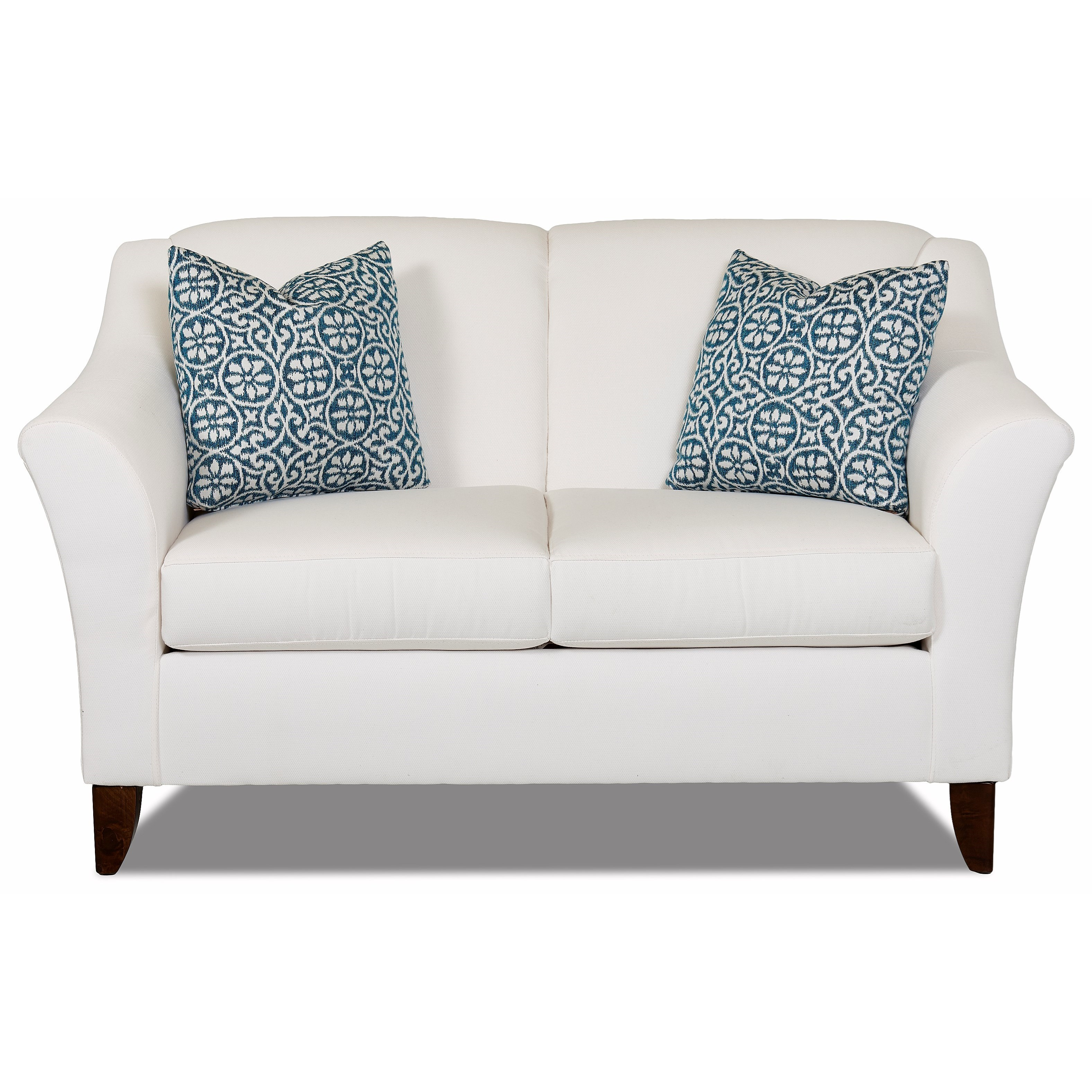 Klaussner Valhalla Contemporary Love Seat With Flared Arms
