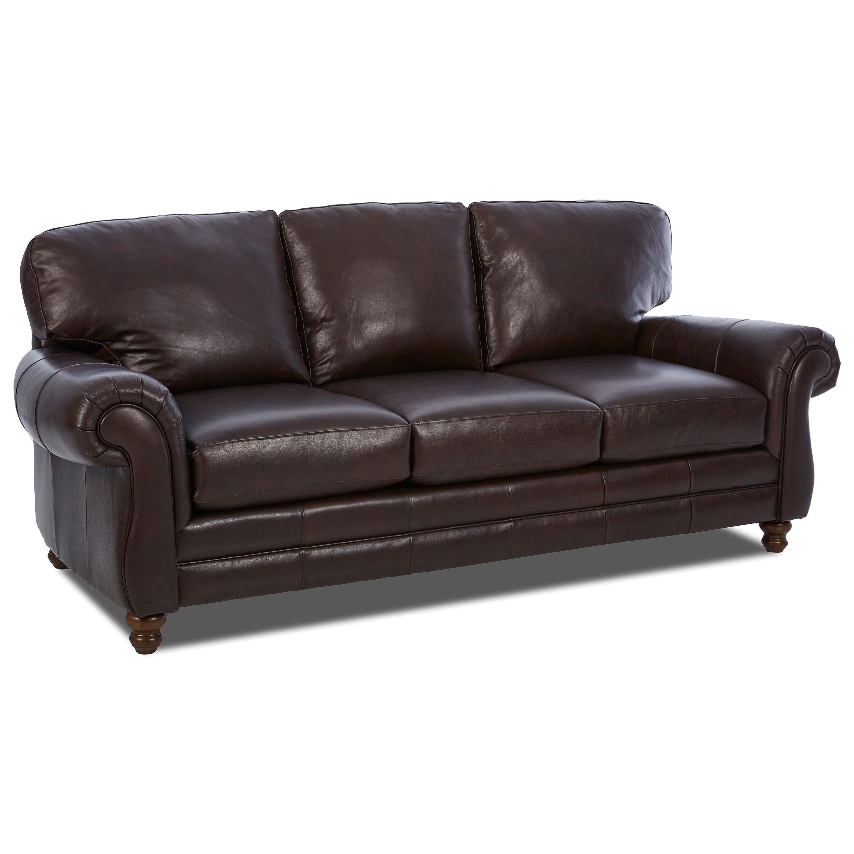 Klaussner Leather Sofa Review: Klaussner Valiant Leather Sofa With Rolled Arms