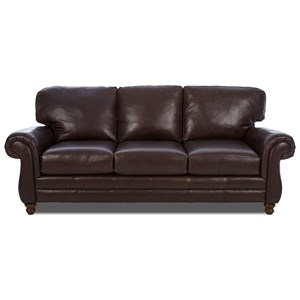 Simple Elegance Chelsea Leather Roll Arm Sofa