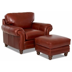 Klaussner Valiant  Chair and Ottoman Set
