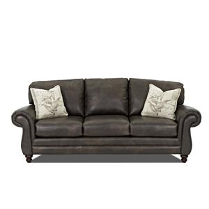 Klaussner Valiant  Leather Sofa with Accent Pillows