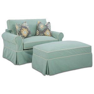 Klaussner Victoria Sleeper Chair & Storage Ottoman