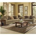 Klaussner Walker Upholstered Chair with Exposed Wood Feet - BO64930FC - Shown in Living Room with Coordinating Sofa